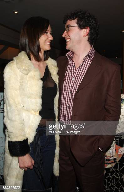 Comedian and actor Steve Coogan with Caroline Hickman during the premiere of '24 Hour Party People' at the Curzon Soho cinema in London