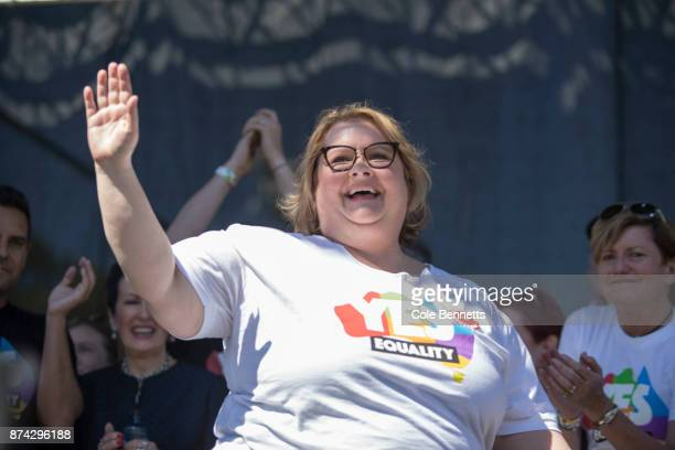 Comedian and advocate for samesex marriage Magda Szubanski walks on stage after Australia votes 'Yes' at an event in Price Alfred Park on November 15...