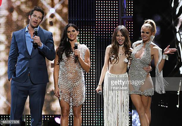Comedian and co-host Colin Kane, adult film actresses and co-hosts Aspen Rae and Riley Reid and adult film actress Jessa Rhodes speak during the 2017...