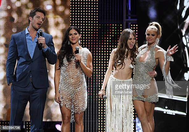 Comedian and cohost Colin Kane adult film actresses and cohosts Aspen Rae and Riley Reid and adult film actress Jessa Rhodes speak during the 2017...