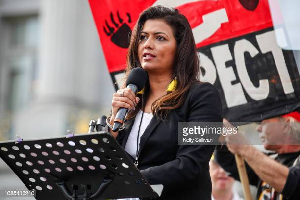 Comedian and event emcee Mona Shaikh speaks onstage at Civic Center Plaza during the Women's March San Francisco on January 19 2019 in San Francisco...