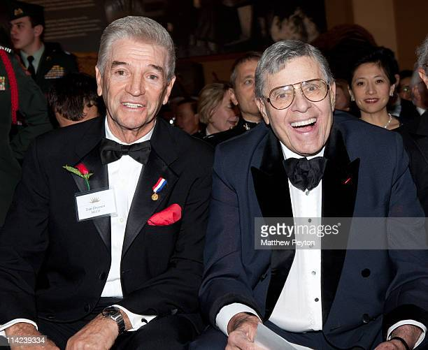 Comedian and former honoree Tom Dreesen and Honoree and Actor/Comedian Jerry Lewis attends the Ellis Island Medals of Honor sponsored by NECO...