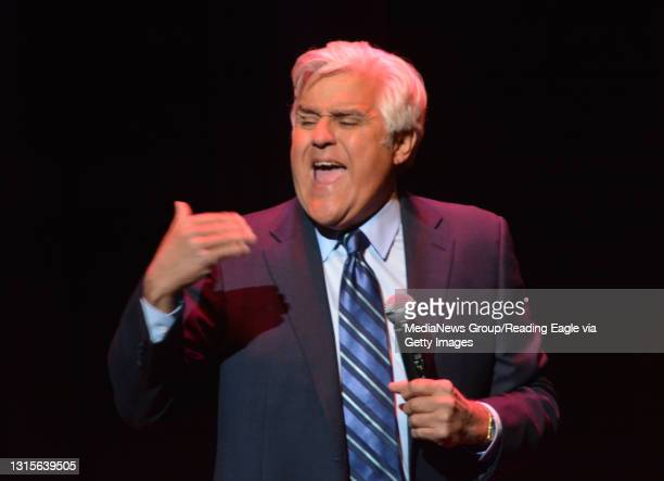 Comedian and former host of The Tonight Show, Jay Leno, performs standup comedy at the Santander Performing Arts Center in Reading Thursday evening...
