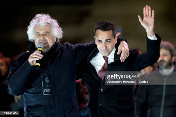 Comedian and founder of the Five Stars Movement Beppe Grillo and Leader and Candidate of Five stars Movement Luigi di Maio attend the closing rally...