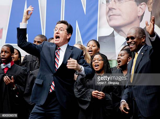 Comedian and host of the Colbert Report Stephen Colbert join force with the Republican Presidential Candidate Herman Cain at a rally in Charleston SC...