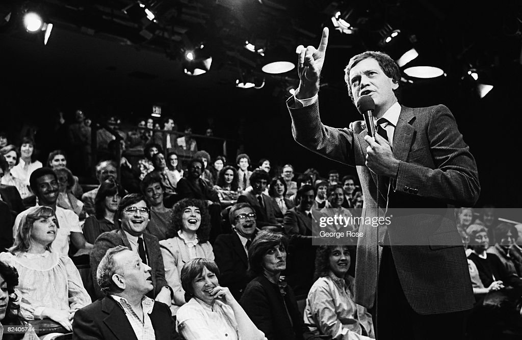 Comedian David Letterman Warms Up TV Audience : News Photo