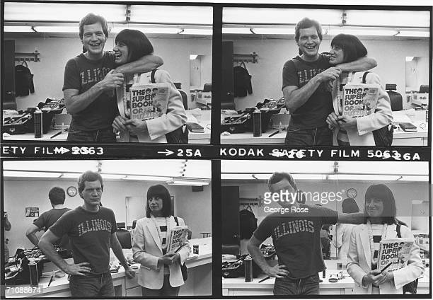 Comedian and latenight talk show host David Letterman poses in his dressing room with girlfriend Merrill Markoe during a 1982 photo portrait session...