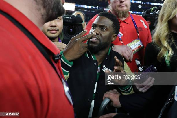Comedian and Philidelphia native Kevin Hart attempts to get onto the stage following the Eagles 4133 win over the New England Patriots in Super Bowl...