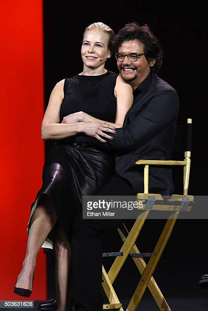 Comedian and television host Chelsea Handler and actor Wagner Moura joke around during a keynote address by Netflix CEO Reed Hastings at CES 2016 at...