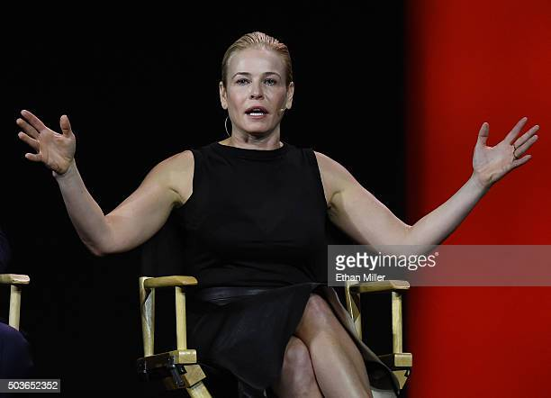 Comedian and television host Chelsea Handler speaks during a keynote address by Netflix CEO Reed Hastings at CES 2016 at The Venetian Las Vegas on...