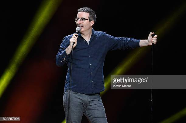Comedian and television host John Oliver performs onstage during the Oddball Comedy Festival at Nikon at Jones Beach Theater on September 10 2016 in...