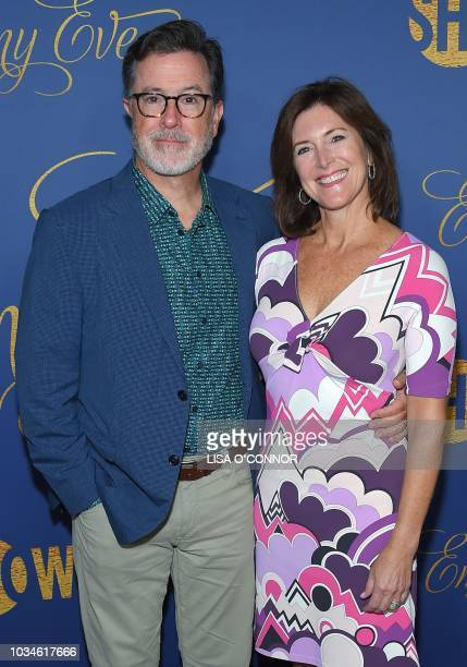 US comedian and television host Stephen Colbert and his wife US actress Evelyn McGeeColbert attend the Showtime Emmy Eve Nominees Celebration in Los...