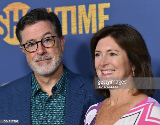 Comedian and television host Stephen Colbert and his wife US actress Evelyn McGee-Colbert attend the Showtime Emmy Eve Nominees Celebration in Los...