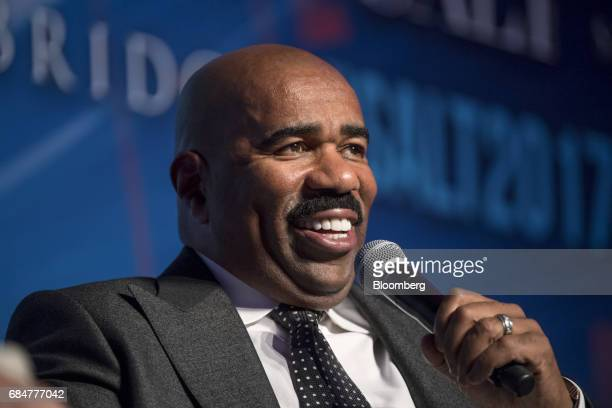 Comedian and television host Steve Harvey smiles during a Bloomberg Television interview at the Skybridge Alternatives conference in Las Vegas Nevada...