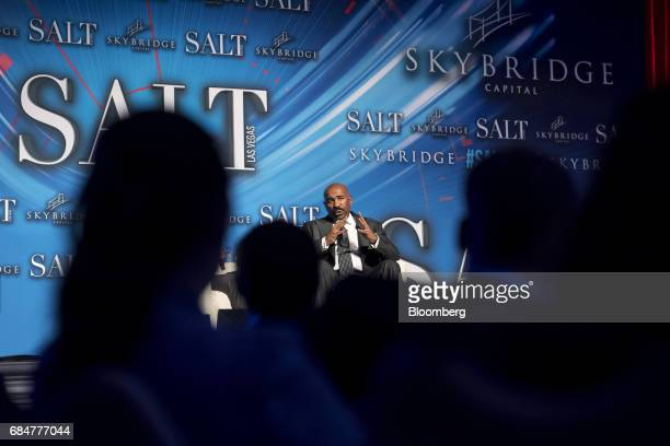 Comedian and television host Steve Harvey speaks during a Bloomberg Television interview at the Skybridge Alternatives conference in Las Vegas Nevada...