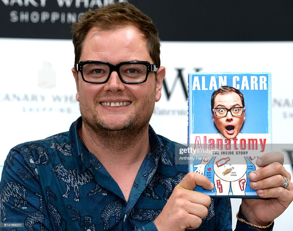 Comedian and TV Host Alan Carr meets fans and signs copies of his new book 'Alanatomy' at Waterstones Canary Wharf on October 12, 2016 in London, England.