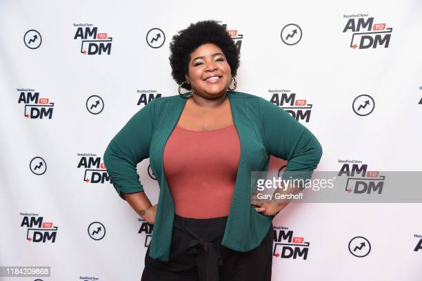 "Comedian and TV personality Dulcé Sloan visits BuzzFeed's ""AM To DM"" on October 29, 2019 in New York City."