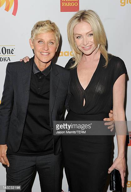 Comedian and TV Personality Ellen DeGeneres and actress Portia de Rossi pose backstage at the 23rd Annual GLAAD Media Awards presented by Ketel One...