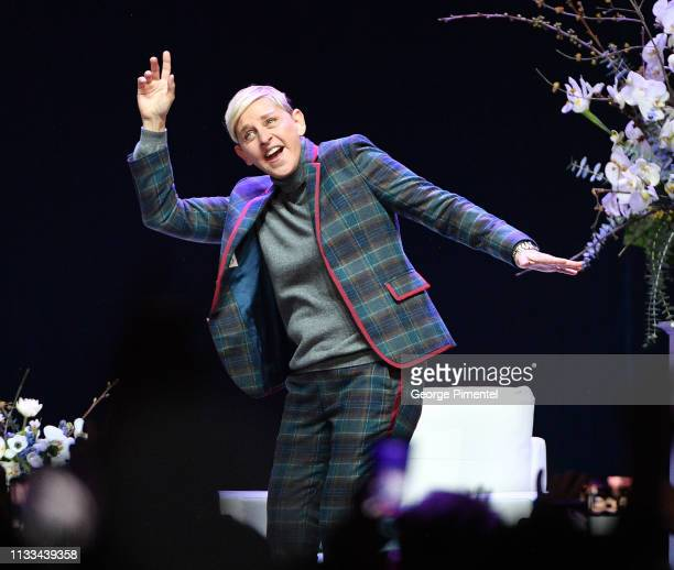 Comedian and TV Personality Ellen DeGeneres attends a question and answer session for her Canadian fans at Scotiabank Arena on March 03, 2019 in...