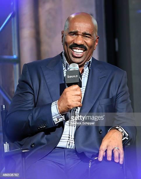 Comedian and TV Personality Steve Harvey speaks at AOL BUILD Speaker Series Steve Harvey at AOL Studios In New York on September 4 2015 in New York...