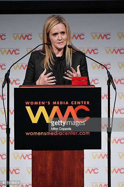 Comedian and WMC History Making Award recipient Samantha Bee speaks onstage at the Women's Media Center 2016 Women's Media awards on September 29...