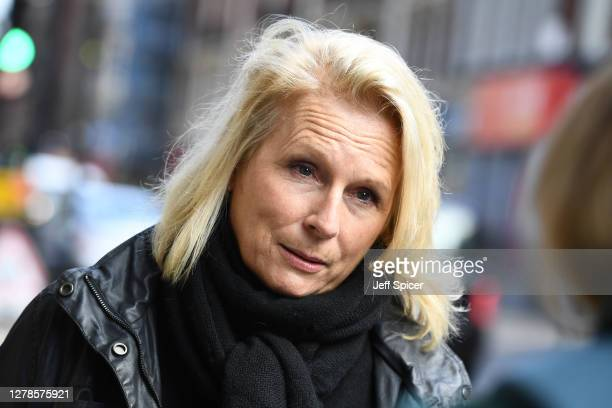Comedian and Writer, Jennifer Saunders is interviewed after taking part in a Silent Stand at Gielgud Theatre on October 05, 2020 in London, England....