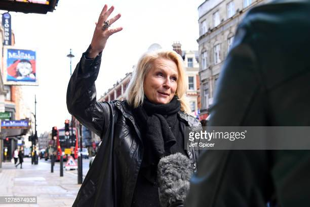 Comedian and Writer Jennifer Saunders takes part in a Silent Stand at Gielgud Theatre on October 05, 2020 in London, England. The stand is to show...