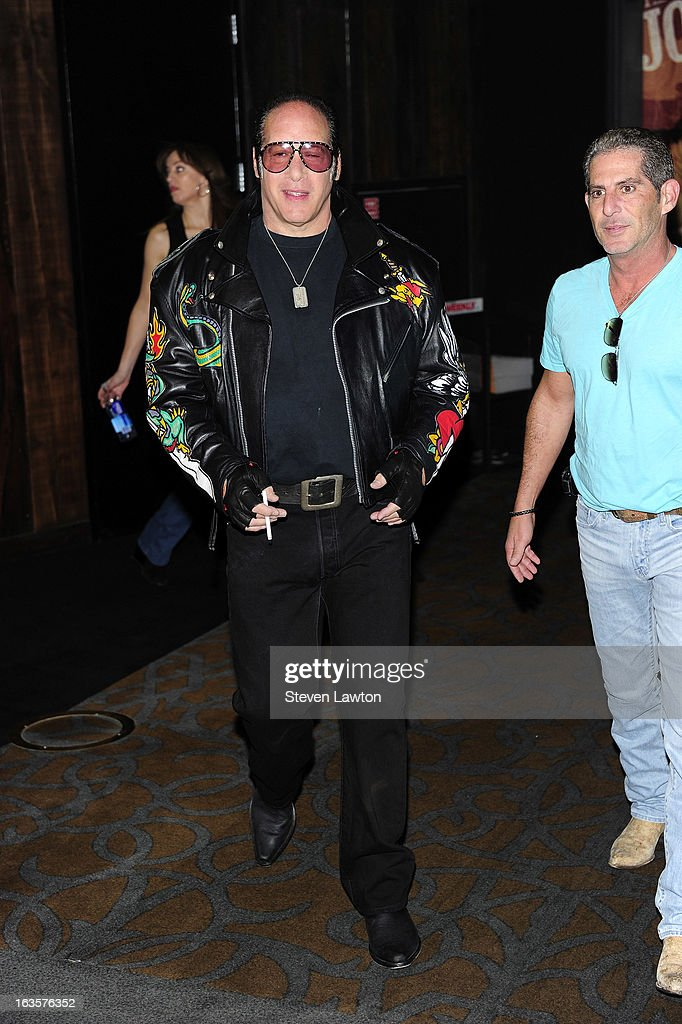 Comedian Andrew Dice Clay appears at a memorabilia case dedication at the Hard Rock Hotel & Casino on March 12, 2013 in Las Vegas, Nevada.