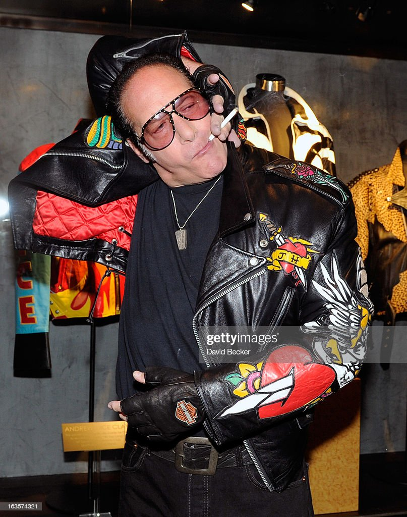 Comedian Andrew Dice Clay appears during a memorabilia case dedication ceremony in honor of his upcoming residency at Vinyl at the Hard Rock Hotel & Casino on March 12, 2013 in Las Vegas, Nevada.