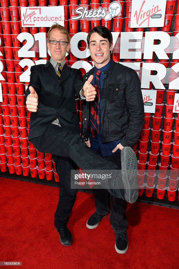 Comedian Andy Dick and actor Paris Dylan attend Relativity Media's '21 and Over' premiere at Westwood Village Theatre on February 21, 2013 in Westwood, California.