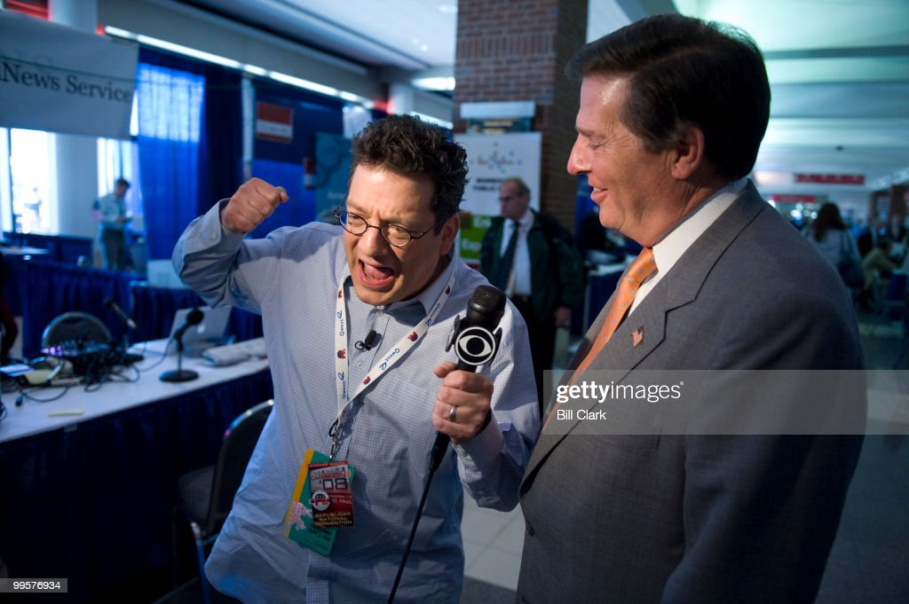 Comedian Andy Kindler interviews former Congressman Tom Delay, R-Texas for CBS along radio on Radio Row at the Republican National Convention at the Xcel Center in St. Paul, Minn., on Wednesday, Sept. 3, 2008.