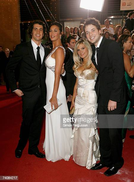 Comedian Andy Lee his girlfriend model Megan Gale fellow comedian Hamish Blake and his girlfriend Anna JenningsEdquist arrive at the 2007 TV Week...