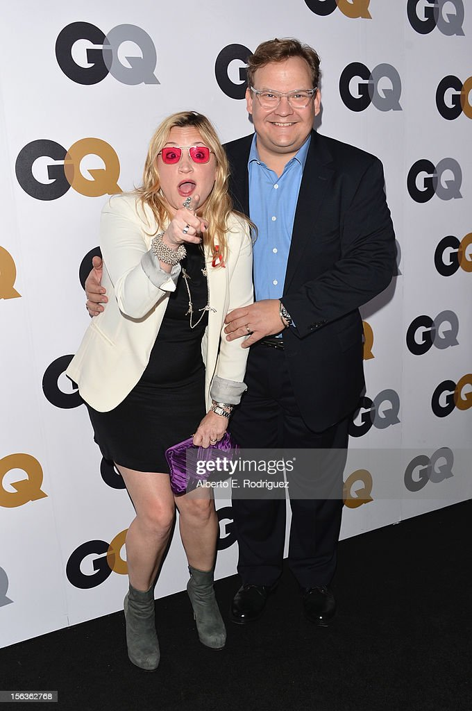 Comedian Andy Richter (R) and Sarah Thyre arrive at the GQ Men of the Year Party at Chateau Marmont on November 13, 2012 in Los Angeles, California.