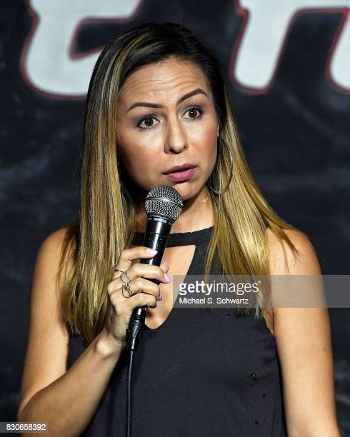 Comedian Anjelah Johnson performs during her appearance at The Ice House Comedy Club on August 11 2017 in Pasadena California