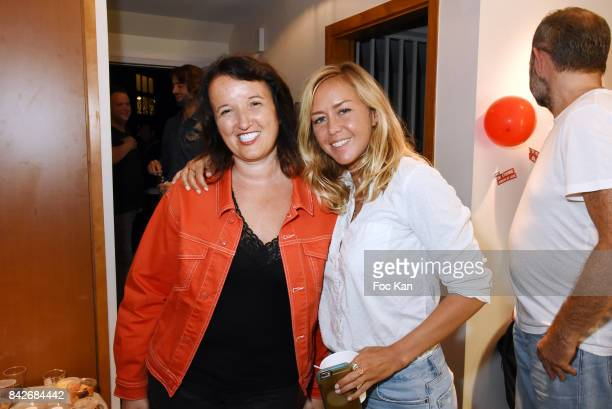 Comedian Anne Roumanoff and TV presenter Enora Malagre attend The Jordan Guisnel Radio Voltage Cocktail At Les Indes Radio Rue De Lubeck on September...