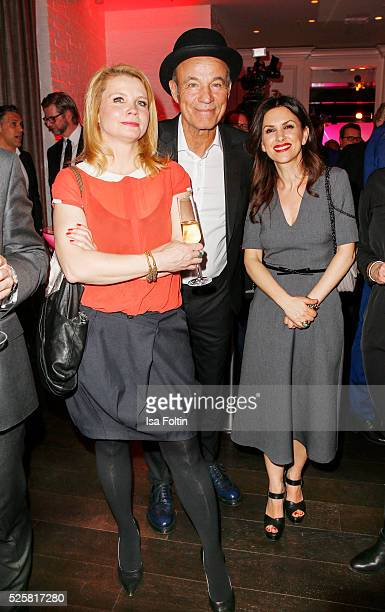 Comedian Annette Frier actor Heiner Lauterbach and his wife Viktoria Lauterbach during the Telekom Entertain TV Night Party at Hotel Zoo on April 28...