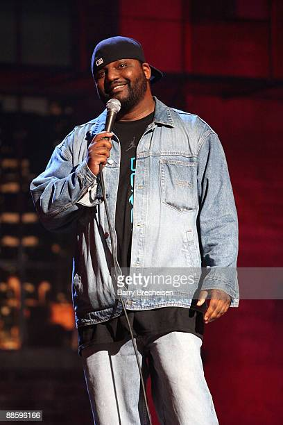 Comedian Aries Spears performs on stage at the Comedy You Can Believe in with David Allen Grier show during TBS presents A Very Funny Festival Just...
