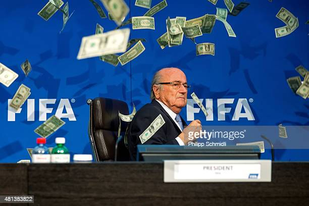 A comedian attacked FIFA President Joseph S Blatter with money during a press conference at the Extraordinary FIFA Executive Committee Meeting at the...
