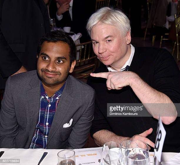 Comedian Aziz Ansari and actor Mike Meyers attend the Food Bank Of New York City's Can Do Awards 2016 hosted by Mario Batali at Cipriani Wall Street...