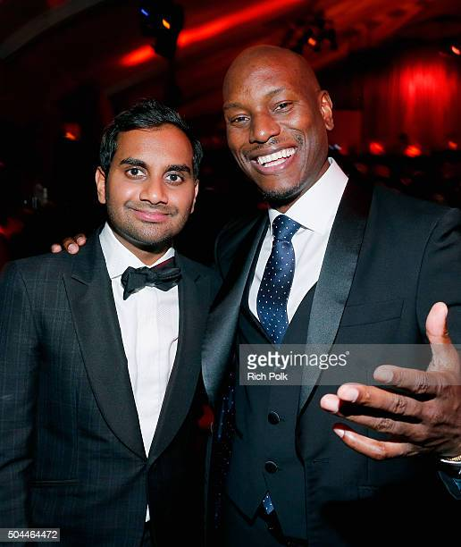 Comedian Aziz Ansari and actor Tyrese Gibson attend The Weinstein Company and Netflix Golden Globe Party presented with DeLeon Tequila Laura Mercier...