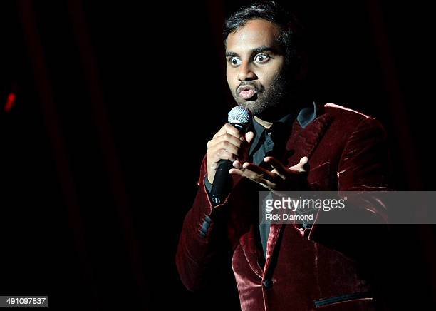 Comedian Aziz Ansari performs at TPAC Jackson Hall during the Bud Light Presents Wild West Comedy Festival Aziz Ansari on May 15 2014 in Nashville...
