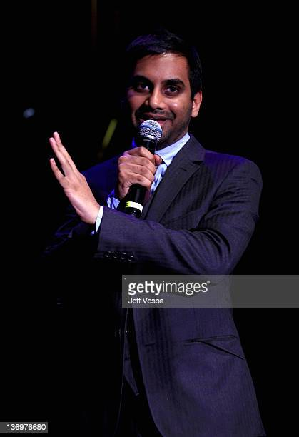 """Comedian Aziz Ansari speaks onstage at """"Hilarity For Charity"""" To Benefit The Alzheimer's Association at Vibiana on January 13, 2012 in Los Angeles,..."""