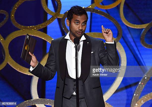 Comedian Aziz Ansari speaks onstage during the 68th Annual Primetime Emmy Awards at Microsoft Theater on September 18 2016 in Los Angeles California