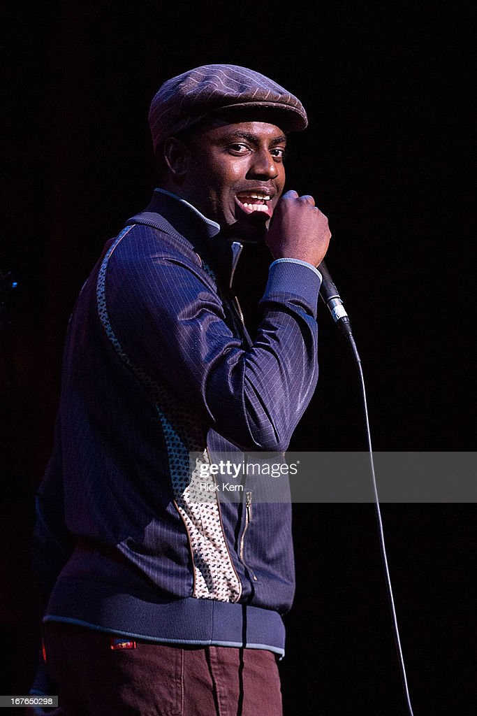 Comedian Baron Vaughn performs on stage during the Moontower Comedy Festival at the Paramount Theatre on April 26, 2013 in Austin, Texas.