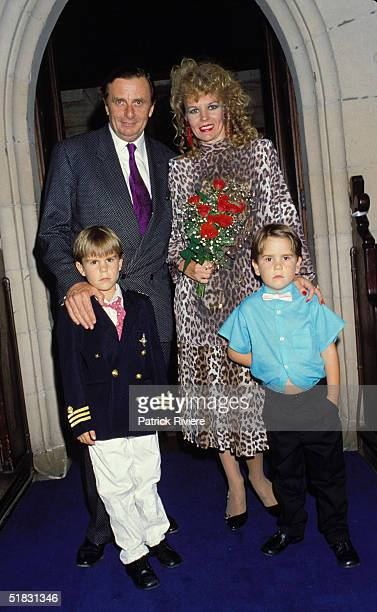 Comedian Barry Humphries marries Diane Millstead with sons Rupert and Oscar 1987 in Sydney's Eastern suburb Australia
