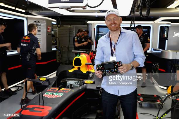 Comedian Bill Burr in the Red Bull Racing garage during the Canadian Formula One Grand Prix at Circuit Gilles Villeneuve on June 11 2017 in Montreal...