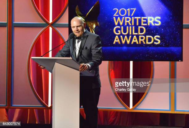 Comedian Bill Burr speaks onstage during the 2017 Writers Guild Awards LA Ceremony at The Beverly Hilton Hotel on February 19 2017 in Beverly Hills...
