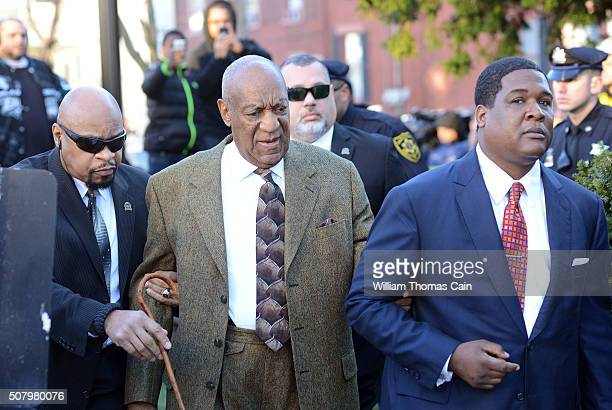 Comedian Bill Cosby arrives for a preliminary hearing for sexual assault charges February 2 2016 at the Montgomery County Courthouse at the...