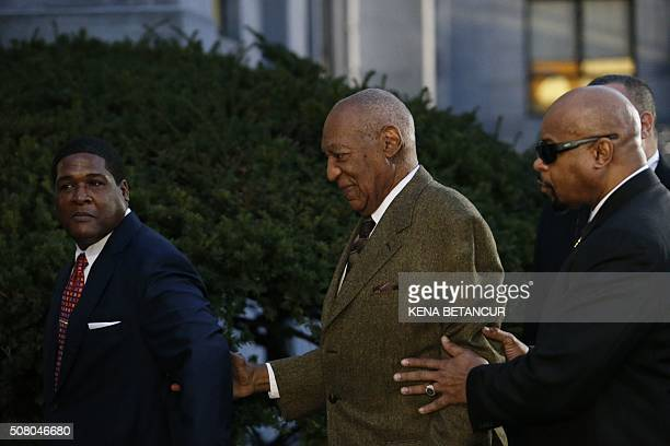 Comedian Bill Cosby leaves the Montgomery County courthouse in Norristown, Pennsylvania on February 2 , 2016. Disgraced TV legend Cosby was back in...
