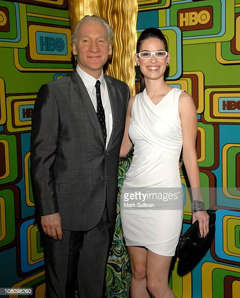 Comedian Bill Maher and Cara Santa Maria attend HBO's 68th Annual Golden Globes After Party at Circa 55 Restaurant on January 16 2011 in Los Angeles...